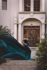 Mermaid ombre gown with dropped sleeves