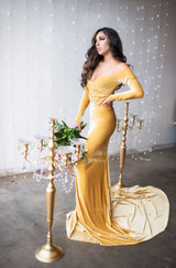 Scarlet  Gold Velvet Off the Shoulders, Bridesmaids Dress, Engagement Dress
