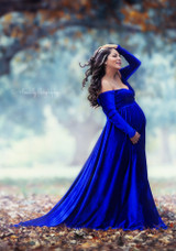 Darah Velvet Royal Blue Maternity Dress