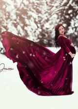 Darah Velvet Burgundy Maternity Dress, Long Sleeves Velvet Dress, A line Velvet Dress
