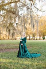 Sarah Velvet On Shoulders Maternity Dress Hunter Green
