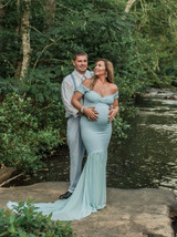 Tessa Fitted Maternity Gown, Mermaid style, Short Sleeves