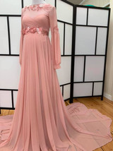 Averil Maternity Gown, Embroidered neckline with Embellished Bishop Sleeves, Full Circle