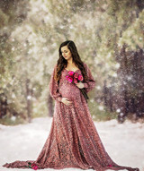 Faythe Lace Maternity Gown, A line, long train, sweetheart neckline, Bishop Sleeves
