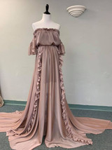 Gabriella Gown with Ruffles and Flutter Sleeves