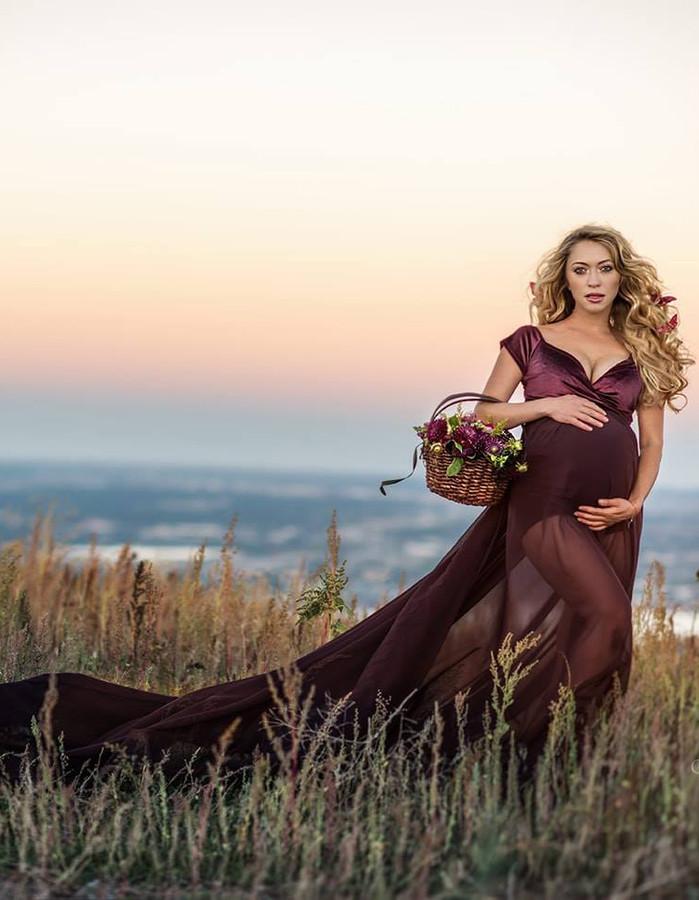 Annabelle Maternity Chiffon Skirt With Velvet Bodysuit, Plum