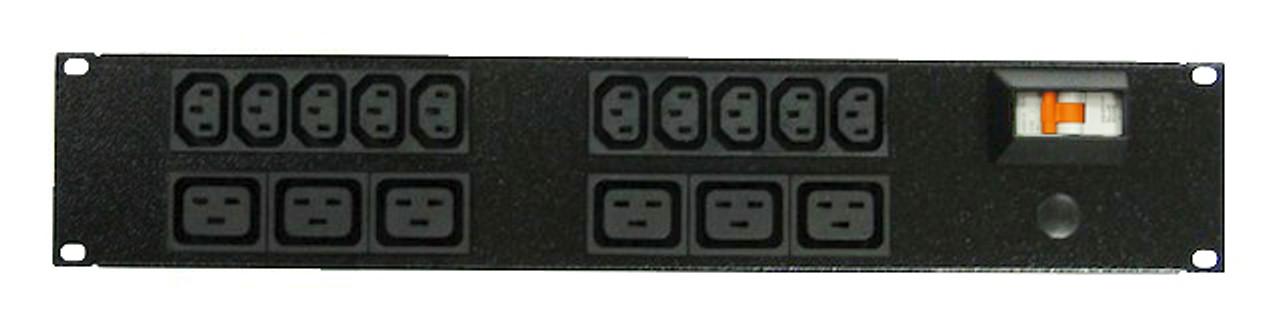 Power Strip 10+6 Outlets   IEC C13+C19   19in 2RU Horizontal
