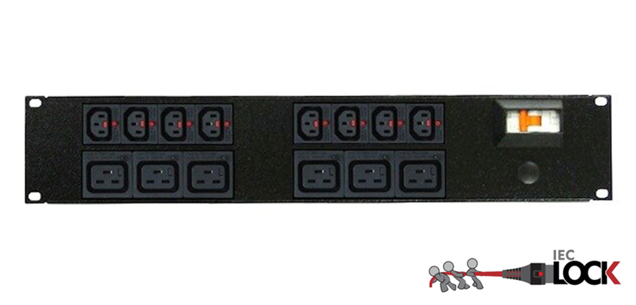 Power Strip 8+6 Outlets | IEC-Lock C13+C19 | 19in 2RU Horizontal