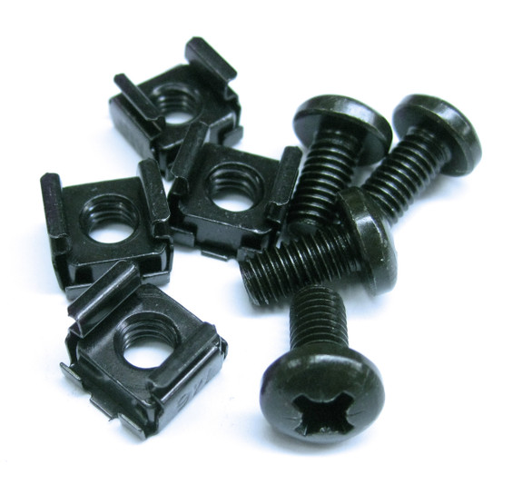 Mounting Hardware: 4x M6 Cage Nuts, 4x Washers, 4x M6x12 Pan Pozi screws Black