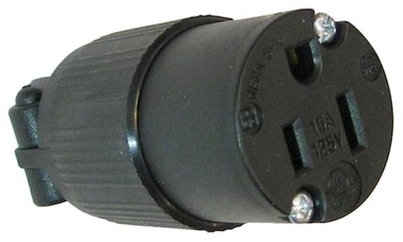 USA NEMA 5-15R 15A socket - Black