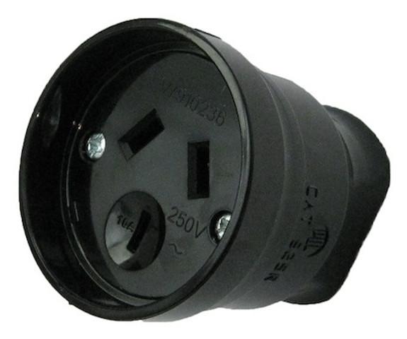 10A 3 pin socket Black - PDL925R