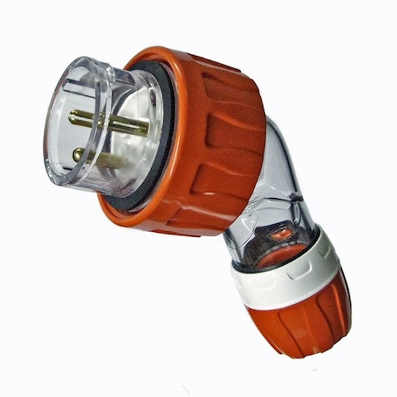 20A 3 pin angle plug Orange (IP66) - PDL56PA320