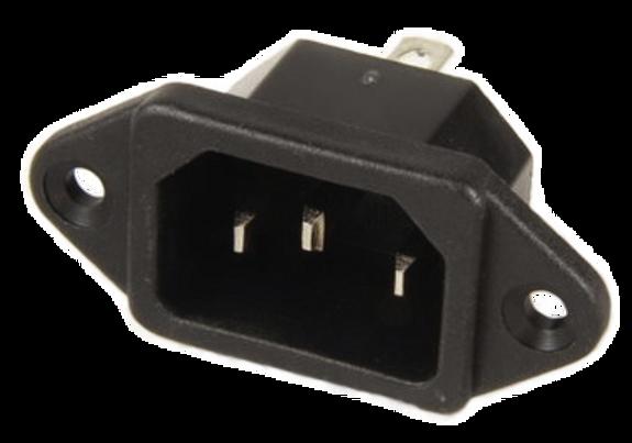 10A C14 IEC screw Mt 6.3QC inlet