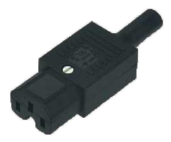 10A C15 IEC high temp (120degC) socket Black