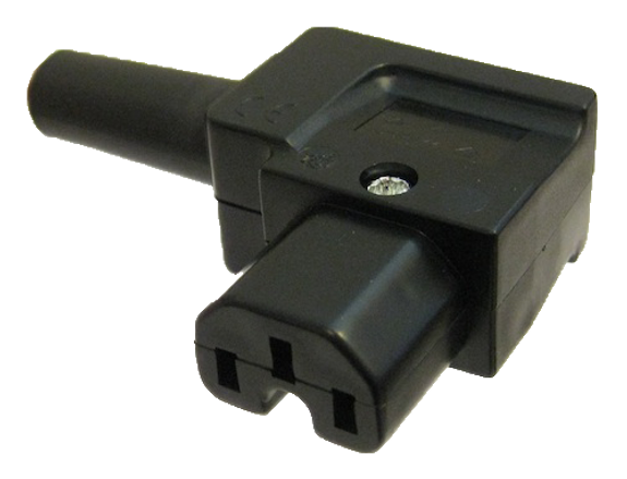10A C15 IEC high temp (120degC) LH entry angle socket Black