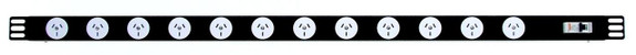 Power Strip 12 Outlets | 3pin | 1m Vertical