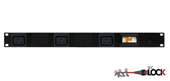Power Strip 3 Outlets | IEC-Lock C19 | 19in 1RU Horizontal