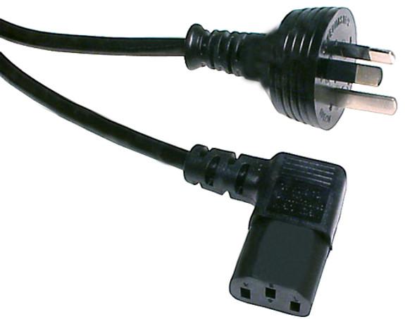 10A 3 pin plug to 10A C13 IEC Left-hand angle socket (1mm2) Black lead
