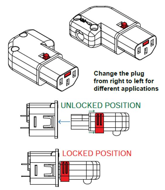 10A C13 IEC-Lock angled (L/R) socket, Black (LSZH)