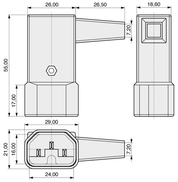 C14 RH angle plug