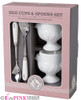 MARY BERRY CHICKEN EGG CUPS & SPOONS PORCELAIN HANDLE STAINLESS STEEL EGG CUP
