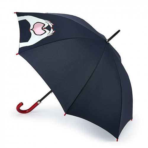 LULU GUINNESS HEART HANDS KENSINGTON WALKING UMBRELLA RED HOOK HANDLE BROLLY