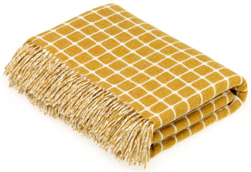 BRONTE ATHENS GOLD PURE NEW SOFT MERINO LAMBSWOOL BLANKET THROW MOONS