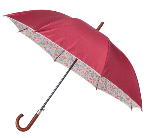 Laura Ashley Classic Caravan Daisy Auto Open Walking Umbrella Hook Handle Brolly