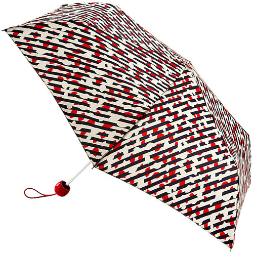 Lulu Guinness Diagonal Stripe Lip Superslim Folding Umbrella With Matching Cover