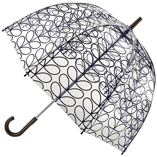 Orla Kiely Linier Leaf Ink Birdcage Walking Domed Transparent Umbrella