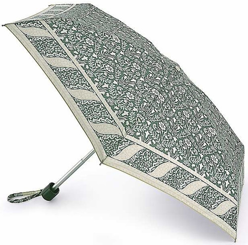 William Morris Bellflower Indigo Sage Tiny Compact Handbag Size Folding Umbrella & Cover