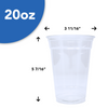Plastic Cups - Clear - 20 oz