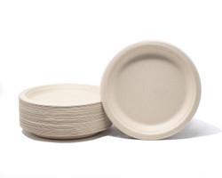 "Natural Compostable Plant Fiber 7"" Plate"