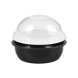 Black Plastic Disposable Portion Cups with Lids 3.5oz