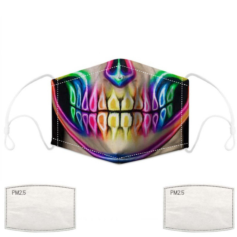 Colorful Rainbow Skull Face Mask with Filters