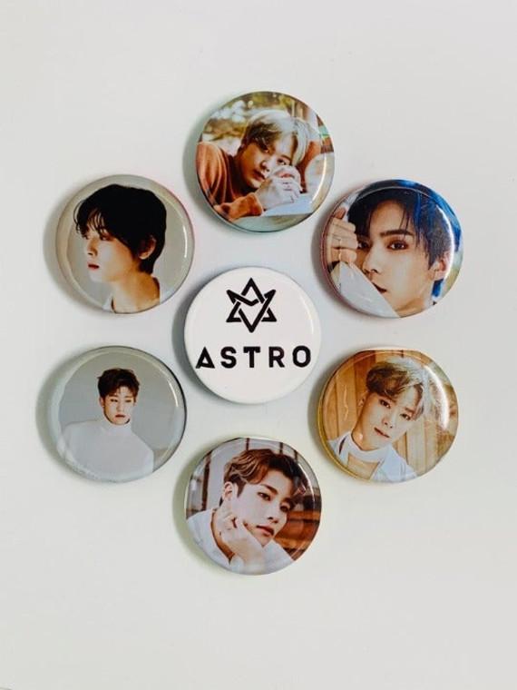 Kpop Astro Blue Flame Photos Pinback Button Pins Badges Custom