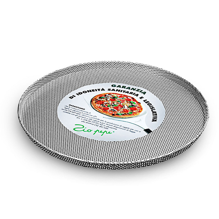 Aluminum pizza tray, perforated with raised edge
