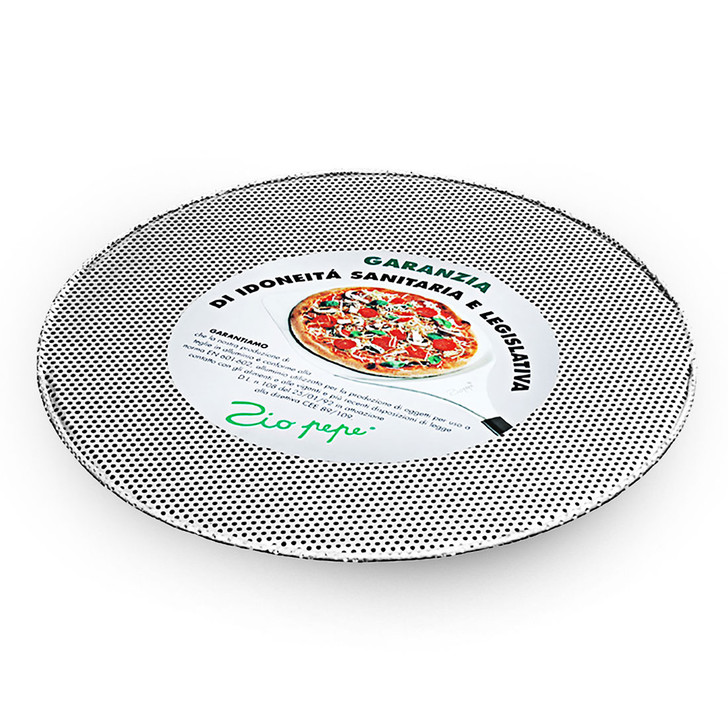 Aluminum pizza tray, perforated & without raised edge