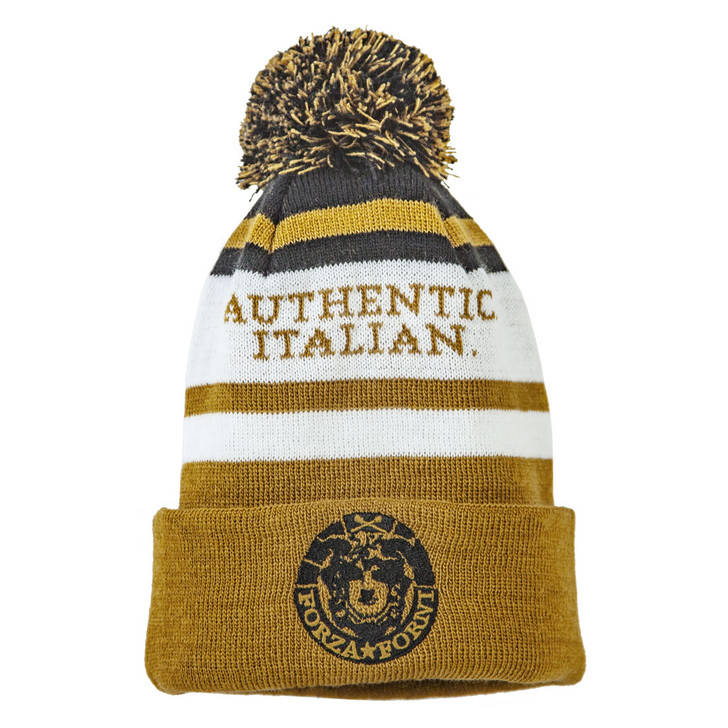 """Official Forza Forni Knit Hat with Pom - """"Authentic. Italian."""" is woven into the cloth"""