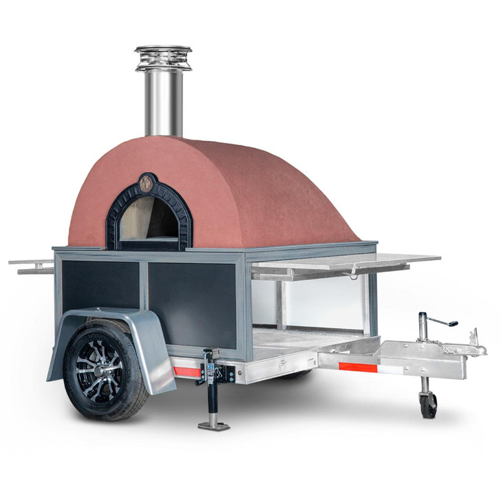 Caterer Mobile Pizza Oven with Coral Stucco