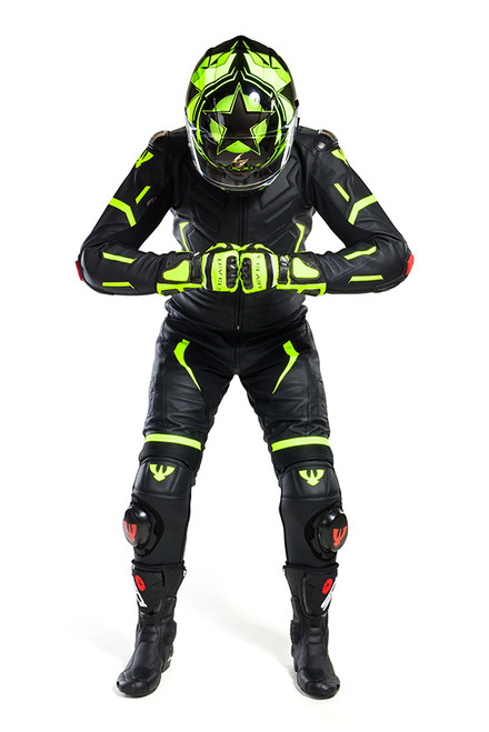 PSI MOTEGI LEATHER TWO PIECE MOTORCYCLE RACE SUIT
