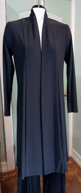Last Tango Black Duster at Bijou's Boutique. Long sleeve, no button front. Small   gathering at back waist. Poly/Spandex blend