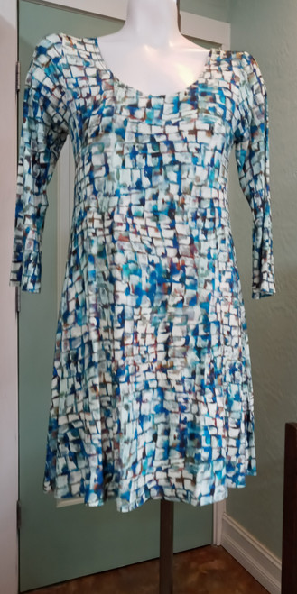 """Salaam Fall Print Dress at Bijou's Boutique. Beautiful shades of blues, greens &   browns. A long three-quarter length sleeve. 95% Rayon/5%Spandex.     X-Small dress measures 34.5"""" from shoulder seam to hem."""