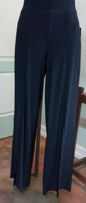 Softworks Black Pull-On Pant at Bijou's Boutique. Elastic waistband. Straight, wide   leg pant with front slit from hem to approximate knee. 96% Polyester/4% Spandex.  Made in Canada.
