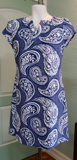 Aryeh Navy Paisley Cap Sleeve Dress at Bijou's Boutique.  V- neckline with slightly flaring dress body. Comfortable summer dress that carries  into the FALL.  Aryeh Mint Ruffle Cap Sleeve Dress at Bijou's Boutique. 80% Nylon/20% Spandex.  Made in the USA.