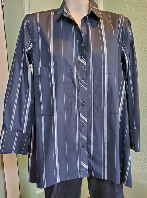 Liv by Habitat Black Pinstripe Oversize Shirt at Bijou's Boutique. Full button shirt with   collared neckline. Front breast pockets. High/Low hemline.  85% Cotton/13% Rayon/2% Spandex.