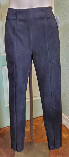 Charlie Paige Black Pant at Bijou's Boutique. Faux suede pant with zipper  on side of waist and inside ankle. Great solo pant or pairs perfectly with the Charlie  Paige Black Jacket. Both the jacket and pants also available in Charcoal Gray.