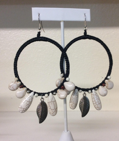 Large hoop earrings, Stones beads and leather at Bijou's Boutique