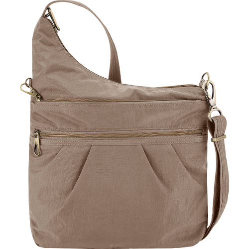 Taupe Travelon Anti-theft crossbody nylon bag at Bijou's Boutique