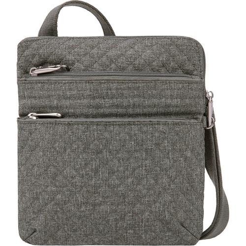 Travelon Anti-theft crossbody light gray heather polyester Traveling bag.